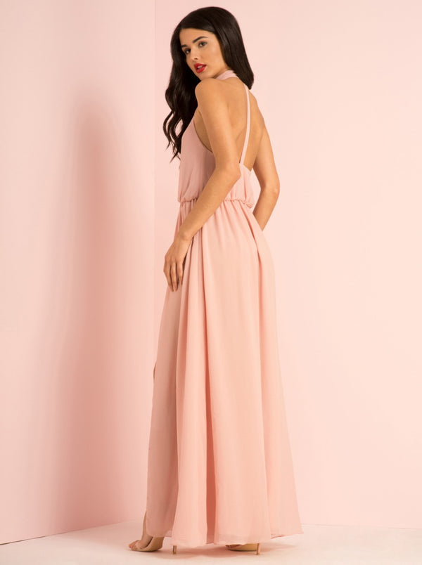 Double Split High Neck Maxi Dress in Pink