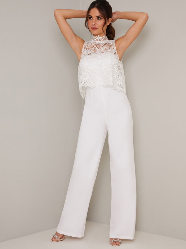 High Neck Crochet Overlay Wide Leg Jumpsuit in White