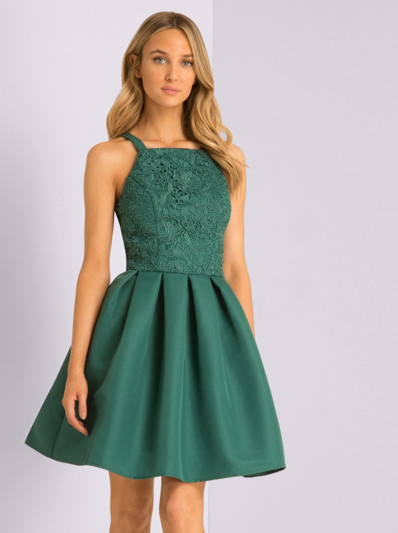 Lace Bodice Detail Mini Dress in Green
