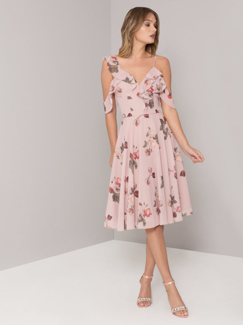 Floral Print Chiffon Midi Dress in Pink