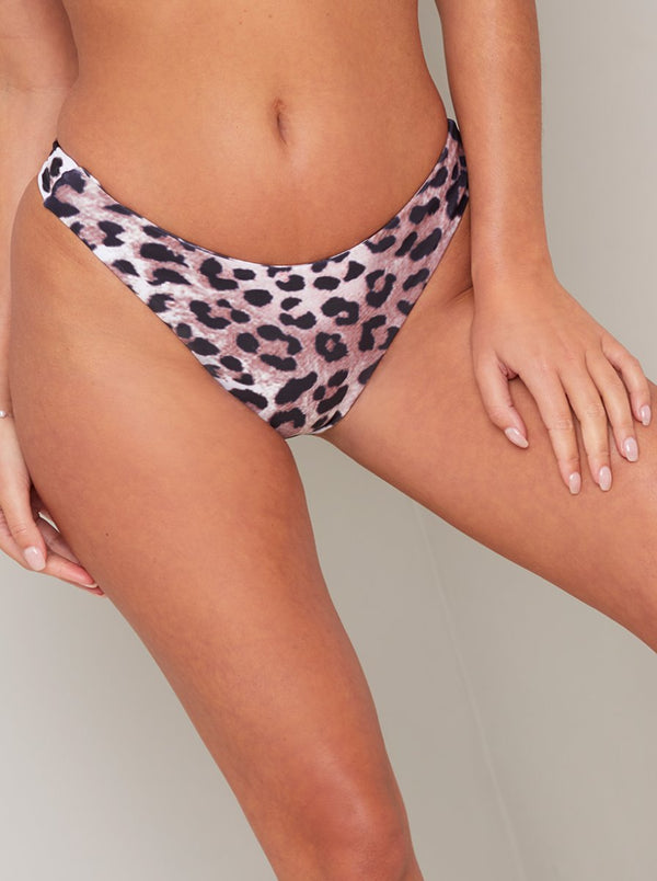 Leopard Print High Cut Bikini Bottoms in Brown