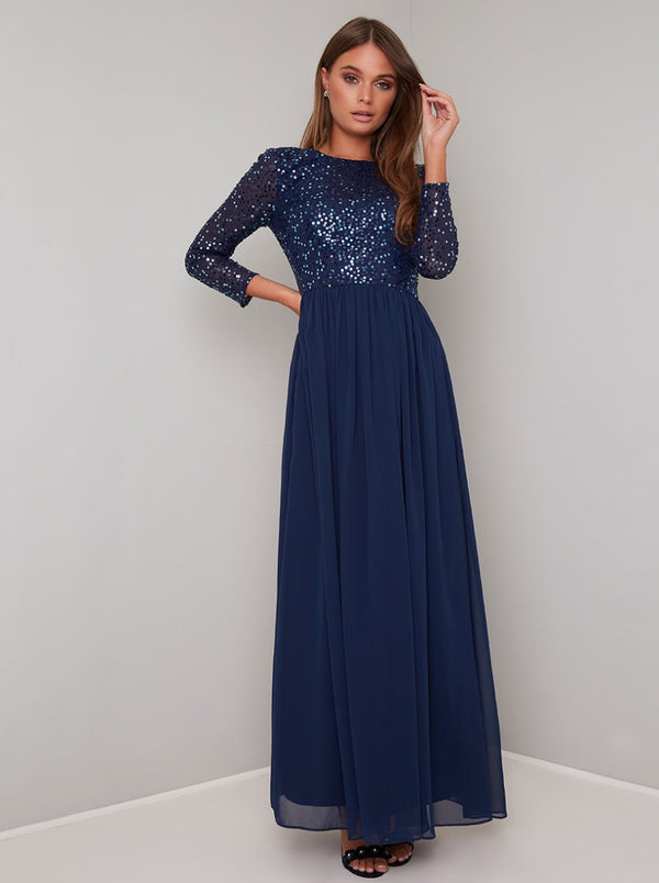 Long Sleeved Sequin Bodice Maxi Dress in Blue