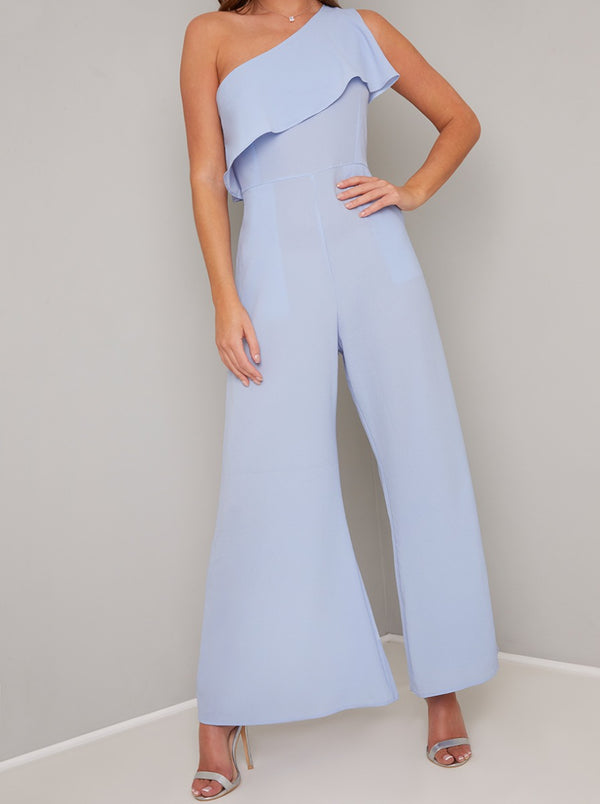 One Shoulder Frill Detail Wide Leg Jumpsuit in Blue