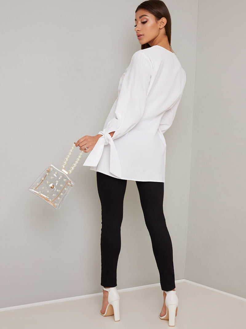 Button Detail Long Sleeved Top in White