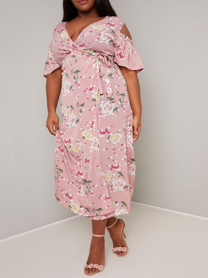 Plus Size Floral Wrap Detail Midi Dress in Pink