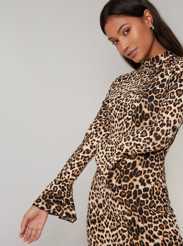 Leopard Print Fluted Sleeved Mini Dress in Brown