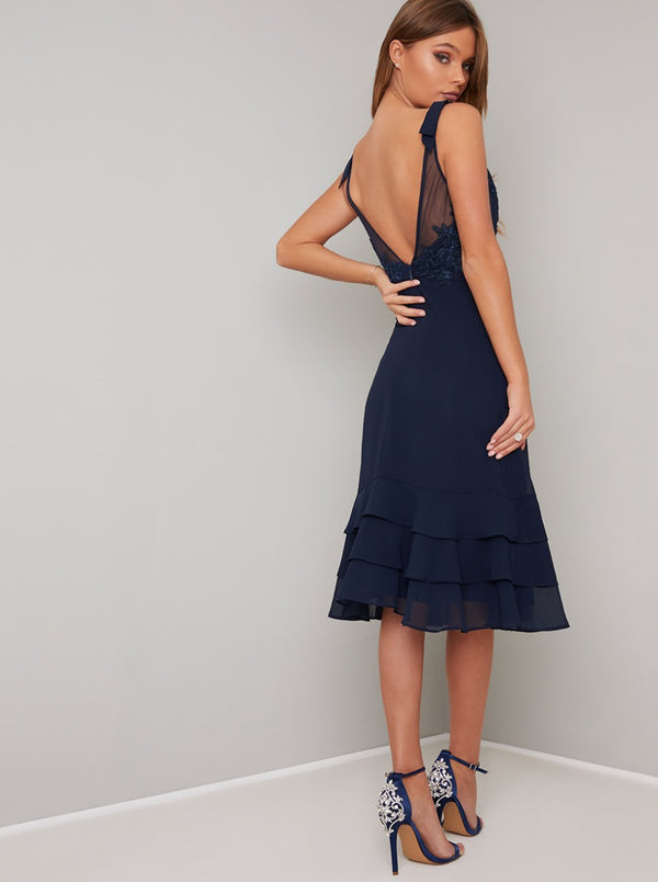 Lace Bodice V Neck Tiered Hem Midi Dress in Blue
