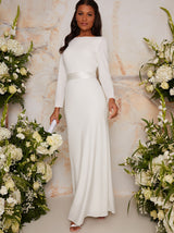High Neck Long Sleeve Bridal Maxi Dress in White
