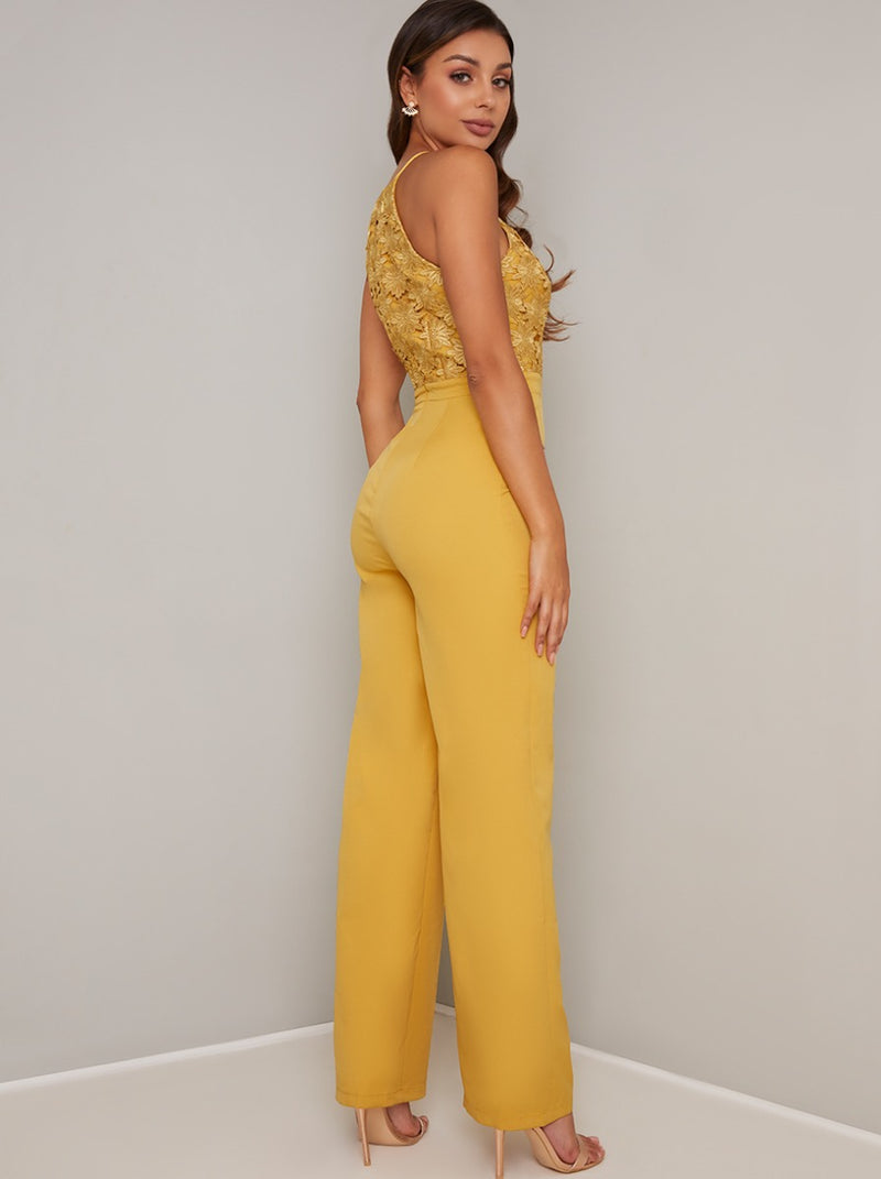Lace Bodice Wide Leg Jumpsuit in Yellow