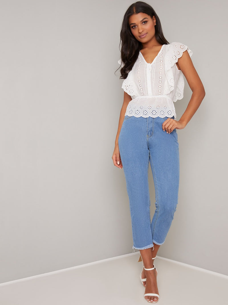 Lace Frill Detail Peplum Top in White