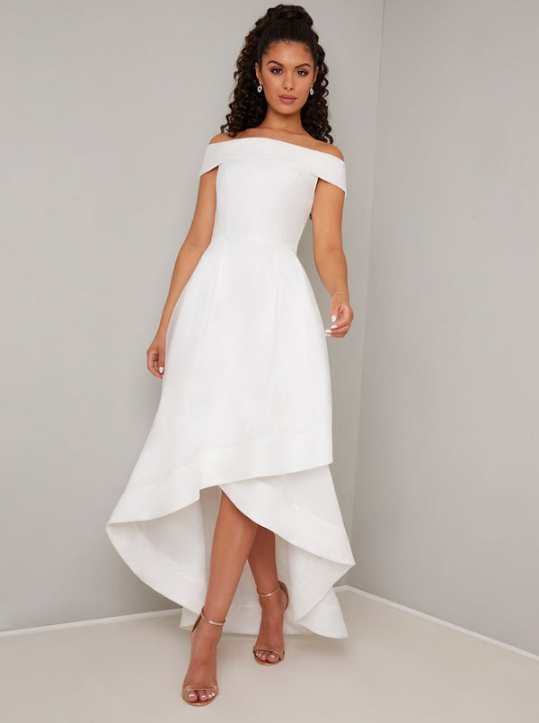 Bardot Dip Hem Midi Dress in White