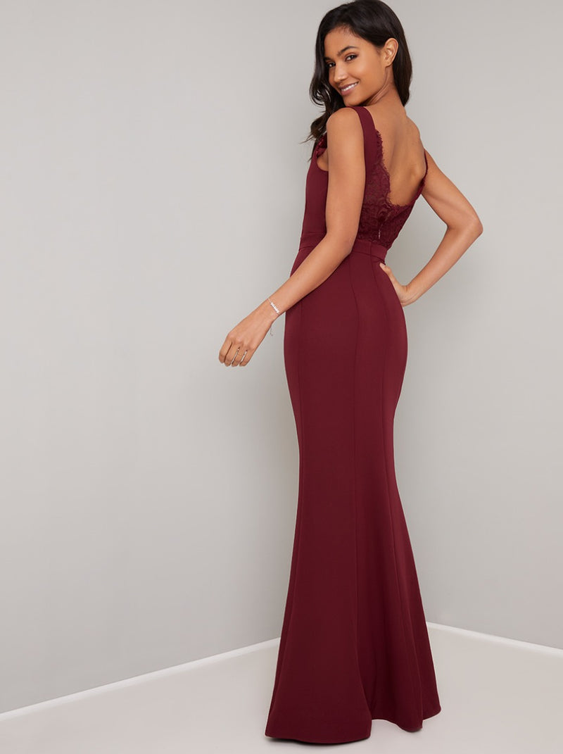 Open Back Lace Detail Bodycon Maxi Dress in Red