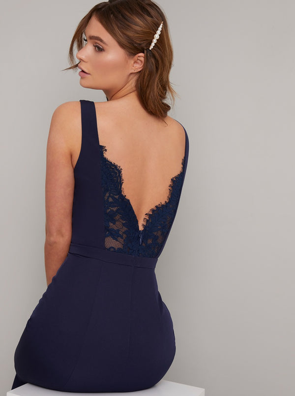 Lace V Back Maxi Dress in Blue