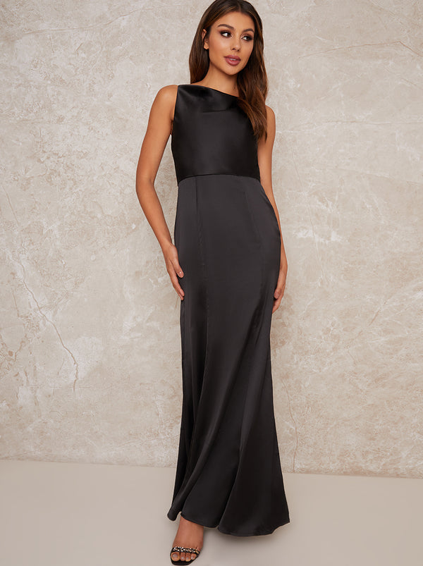 Satin Cowl Neck Slip Maxi Dress in Black