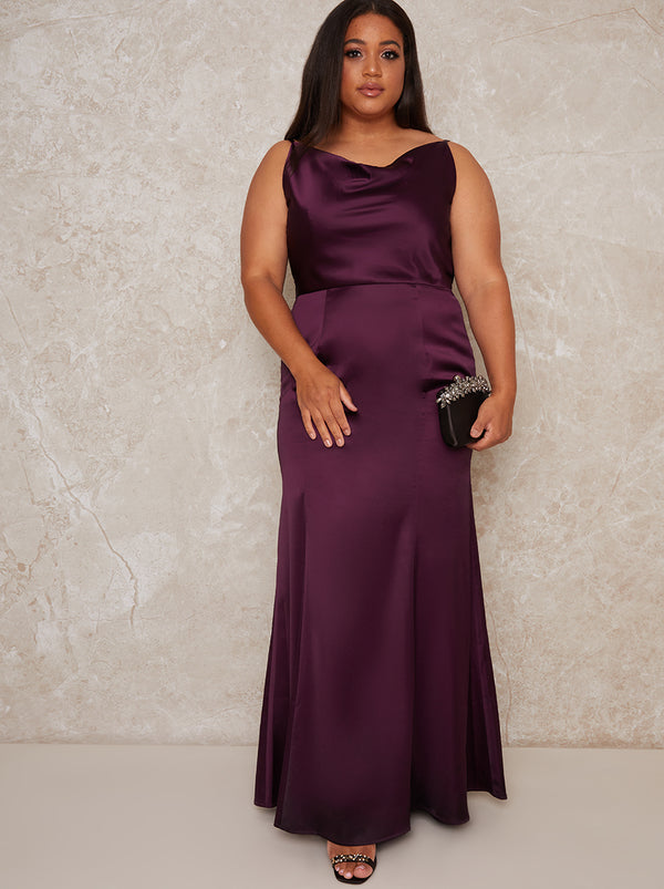 Plus Size Satin Slip Cowl Back Maxi Dress in Purple