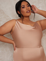 Plus Size Satin Slip Cowl Back Maxi Dress in Champagne