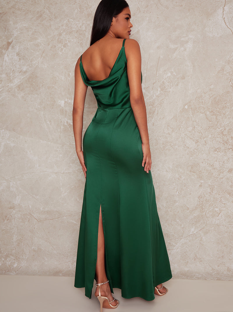 Satin Slip Bridesmaid Maxi Dress in Green
