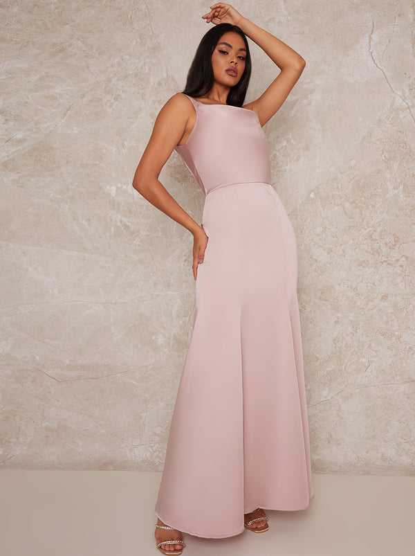 Satin Slip Bridesmaid Maxi Dress in Pink