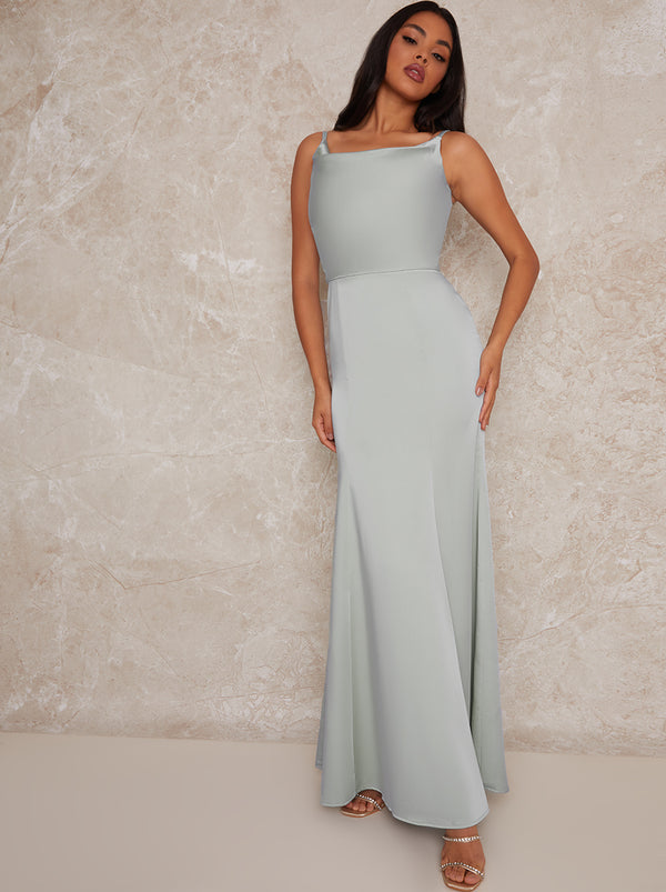 Satin Bridesmaid Maxi Dress with Cowl Neck in Green
