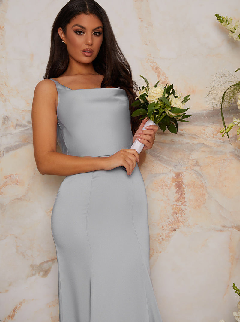 Satin Slip Maxi Bridesmaid Dress in Blue