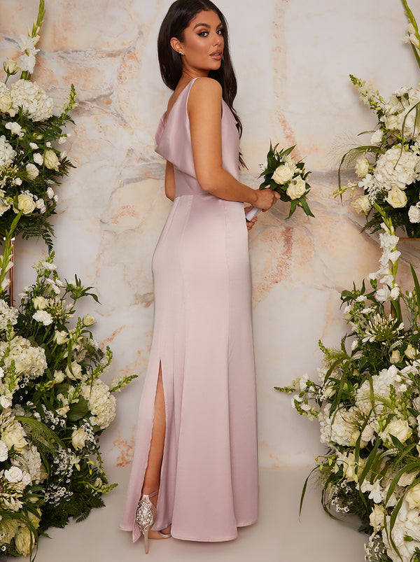 Cowl Neck Bridesmaid Maxi Dress in Pink