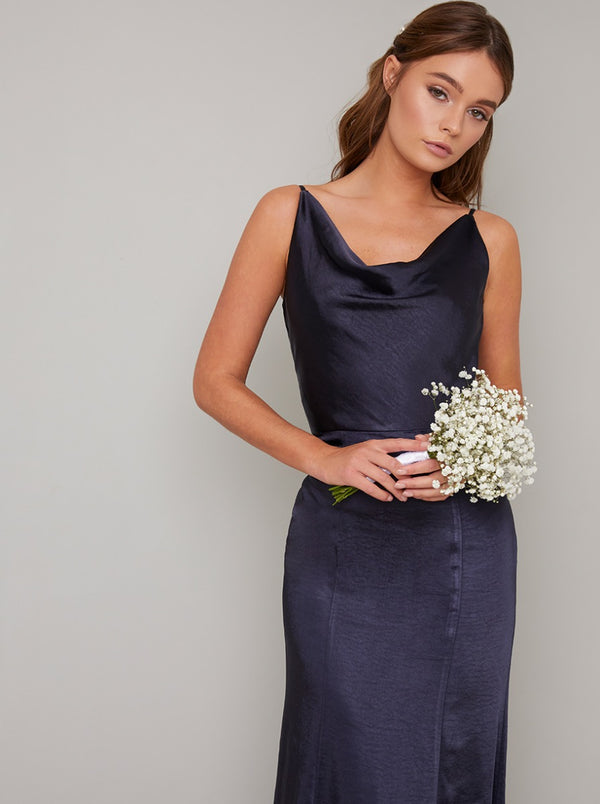Satin Cowl Neck Bridesmaid Maxi Dress in Blue