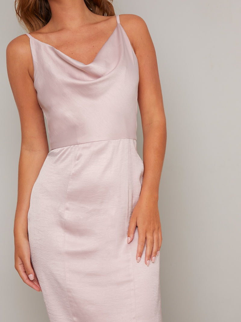 Cowl Neck Cami Strap Midi Dress in Pink