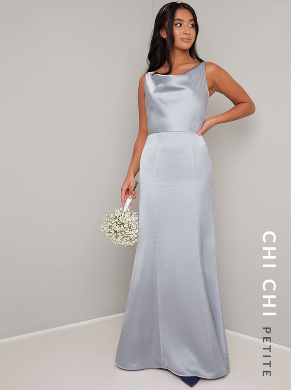 Petite Satin Cowl Neck Maxi Dress in Blue