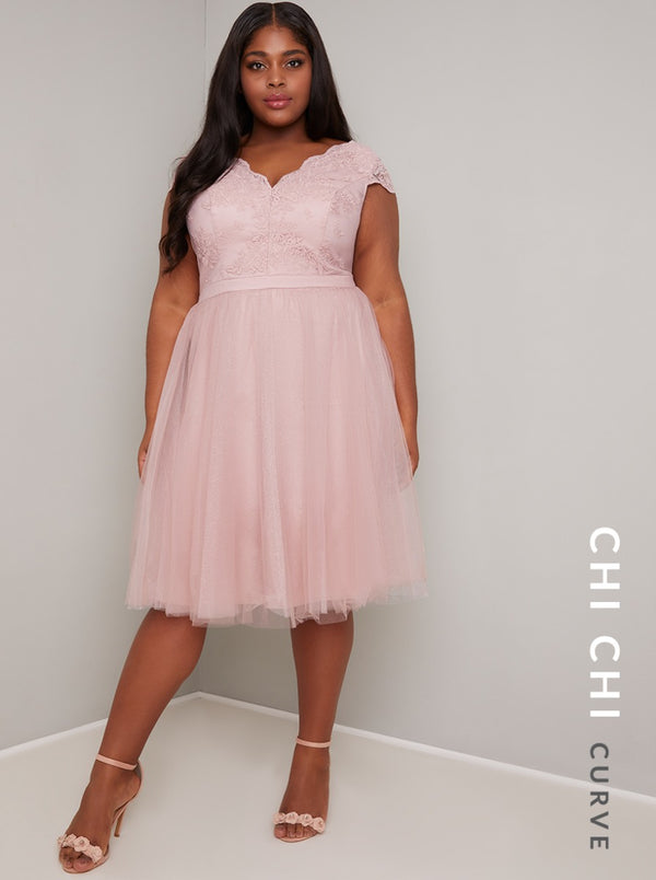 Plus Size Lace Bodice Tulle Midi Dress in Pink