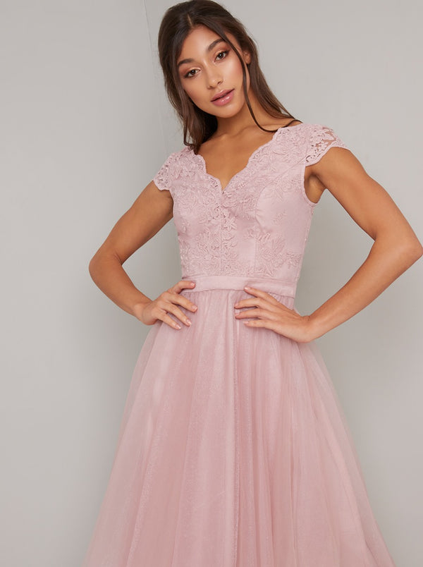 Embroidered Midi Dress with V Neckline in Pink