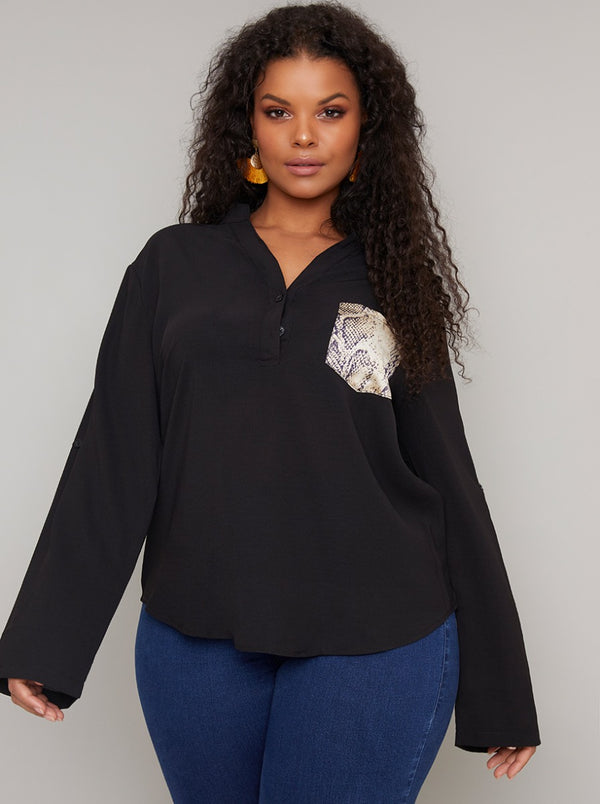 Plus Size Pocket Detail Long Sleeved Top in Black