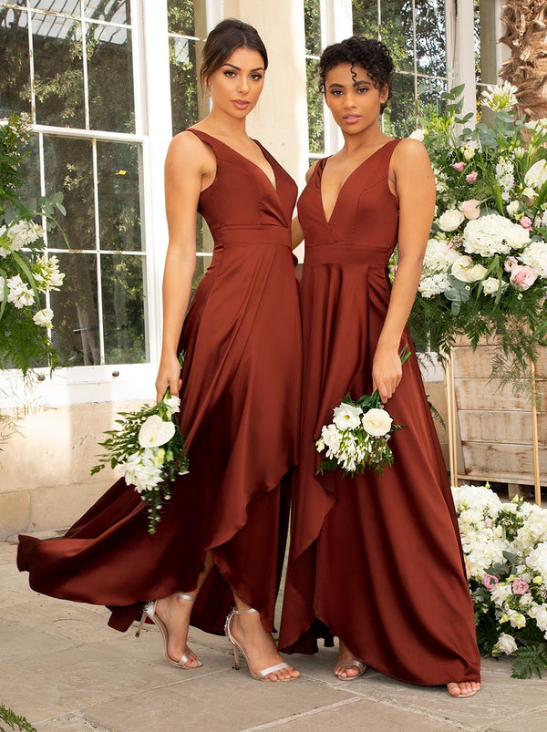Satin Maxi Wrap Detail Bridesmaid Dress in Orange