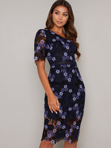 Floral Crochet Mid Sleeved Bodycon Dress in Blue