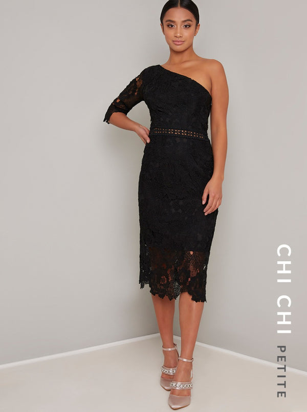 Petite Lace Bodycon One Shoulder Midi Dress in Black
