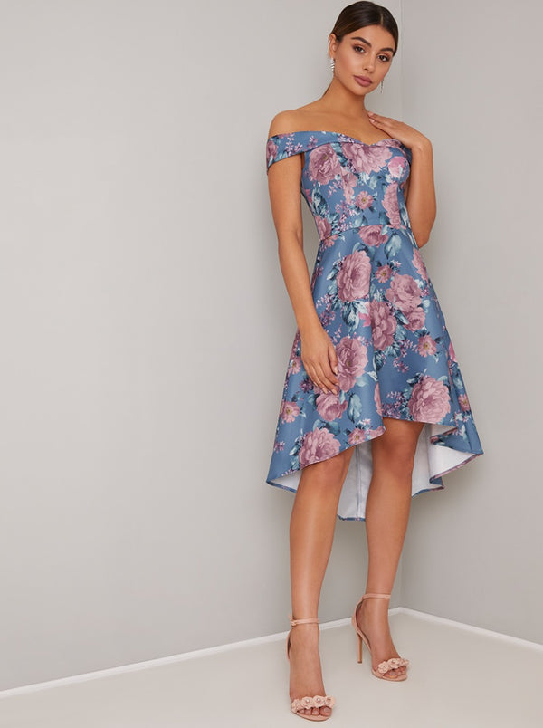 Floral Print Bardot Dip Hem Midi Dress in Blue