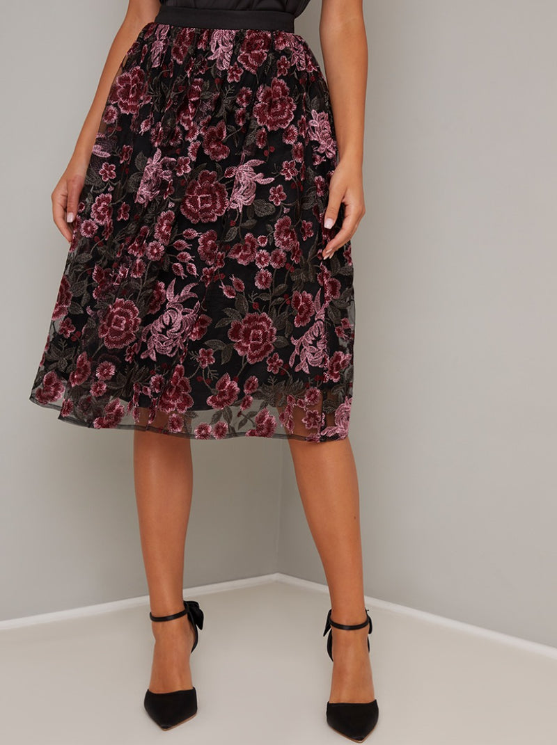 Floral Lace Embroidered Overlay Midi Skirt in Black