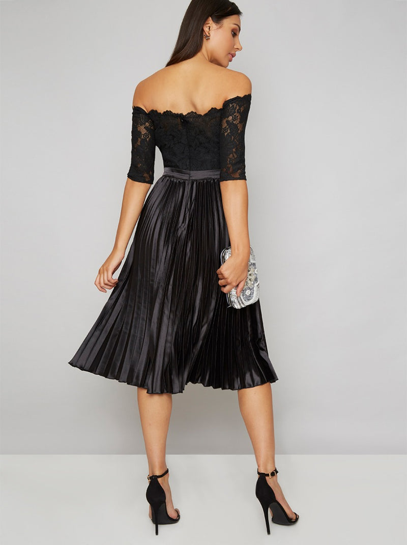 Bardot Lace Bodice Satin Pleat Midi Dress in Black