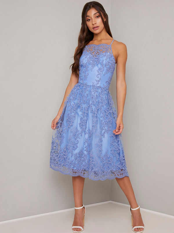 Cami Strap Lace Embroidered Midi Dress in Blue