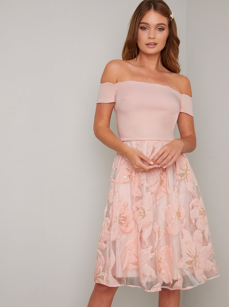 Bardot Fitted Bodice Embroidered Midi Dress in Pink