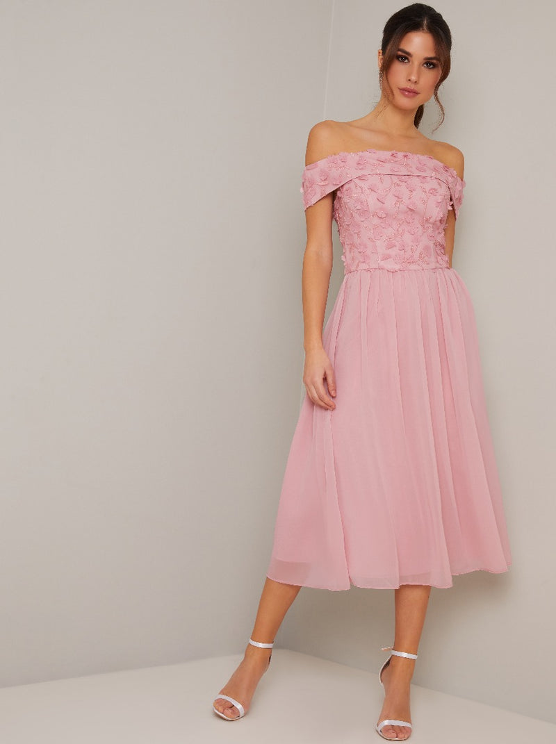 Bardot 3D Floral Detail Chiffon Midi Dress in Pink