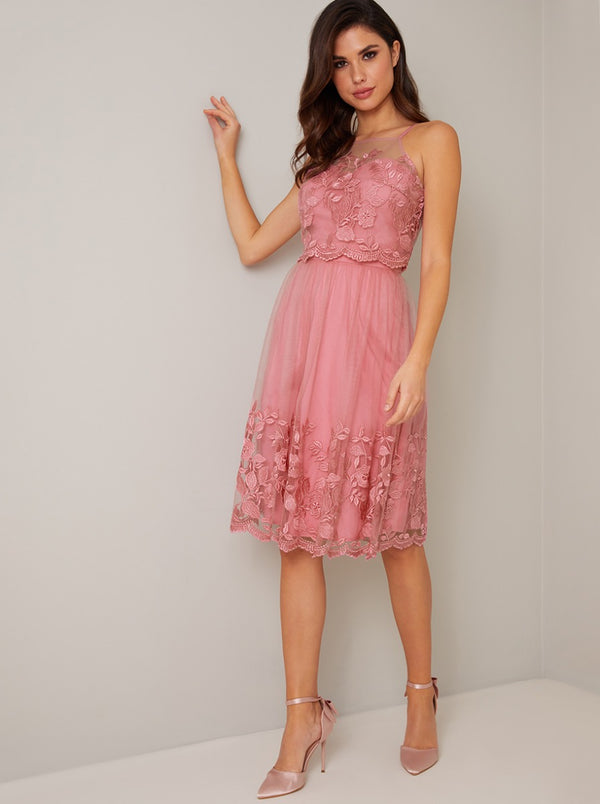 Cami Strap Embroidered Overlay Midi Dress in Pink