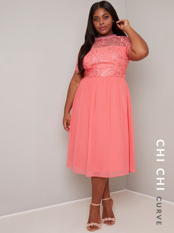 Embroidered Curve Chiffon Midi Dress in Coral