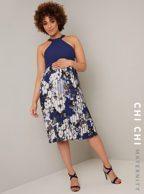 Maternity Halter Neck Floral Pleat Midi Dress in Blue