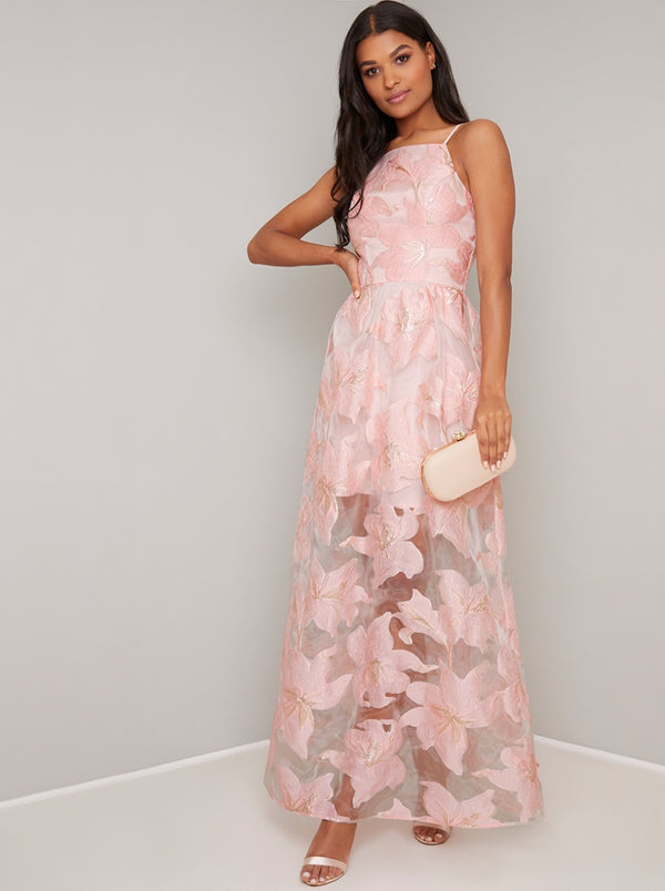 Cami Strap Sheer Maxi Dress with Mini Underlay in Pink
