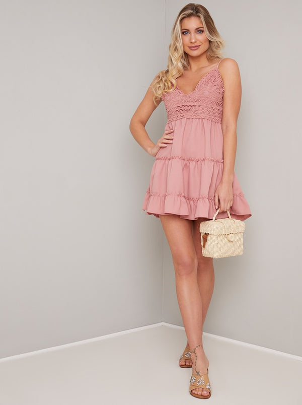 Cami Strap Crochet Tiered Mini Beach Dress in Pink