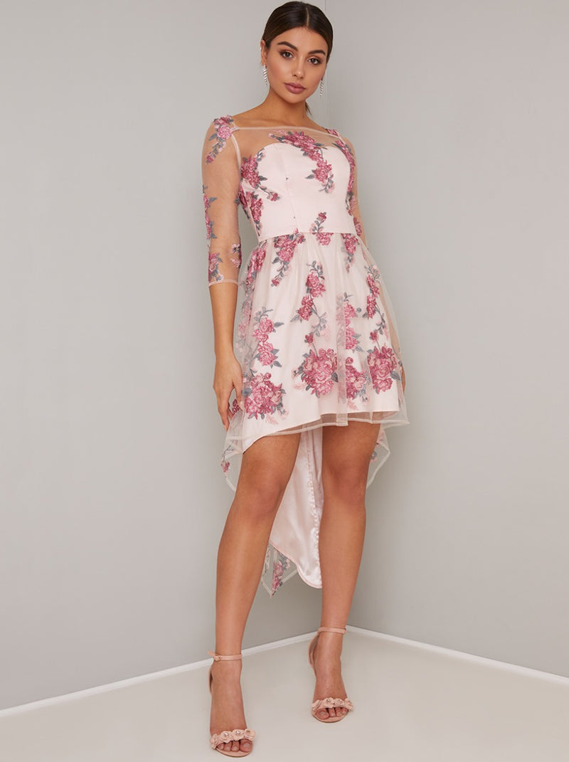 Floral Lace Overlay Sheer Mini Dip Hem Dress in Pink