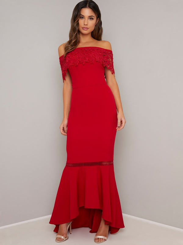 Bardot Lace Detail Bodycon Dip Hem Maxi Dress in Red