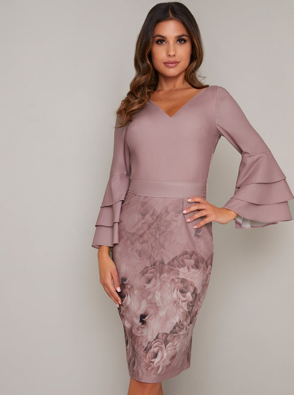 Fluted Sleeved Bodycon Print Midi Dress in Pink