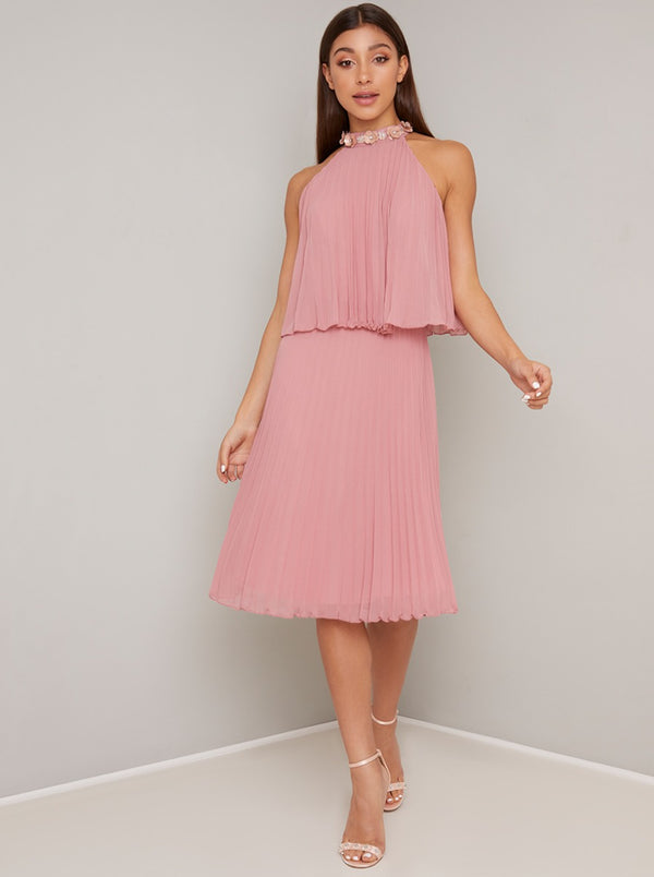 Halterneck Pleat Overlay Midi Dress In Rose Gold
