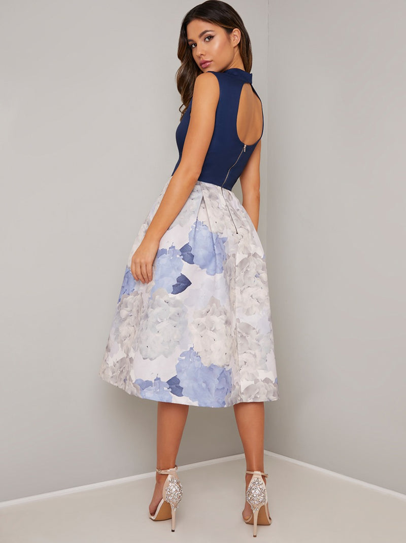 Tall High Neck Floral Contrast Midi Dress in Blue